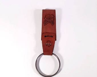 Genuine Leather Handcrafted Floral Motif Belt Key Chain