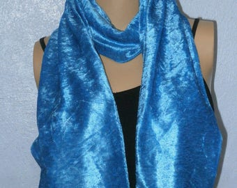 Turquoise Crushed Velvet Scarf 15 cm x150 cm Women's / Ladies Lovely Soft And Warm Great Accessory Gift