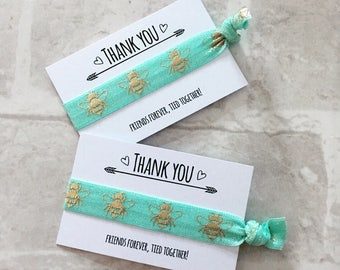 Aqua and Gold Honey Bee hair ties / wristband party bag favour