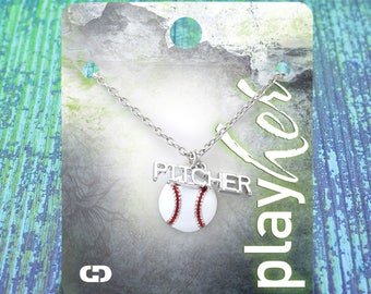 Customized Baseball Pitcher Enamel Necklace - Personalize with Jersey Number, Heart Charm, or Letter Charm! Great Baseball Mom Gift!