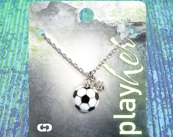 Customizable Soccer Mom Enamel Necklace - Personalize with Jersey Number, Heart Charm, or Letter Charm! Great Soccer Mom Gift!