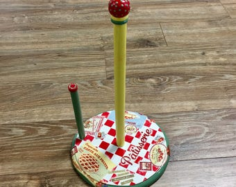 Paper towel holder, wooden, handpainted, decoupaged, red, white, checks, patisserie, green, yellow