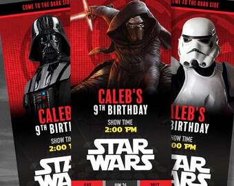 Star Wars Custom Birthday Invitations, Dark Side - Darth Vader, Kylo Ren, Bubba Fett, Storm Trooper, and Darth Maul