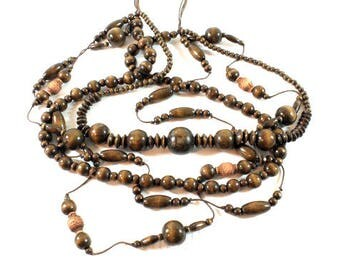 Natural Wooden Necklace, Wooden Beads, Unique Wooden Necklace, Necklace, Brown Wooden Beads, Beautiful