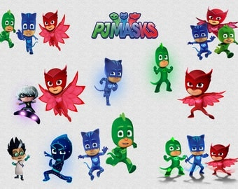 PJ MASKS CLIPART, 18 High Quality Png Images with Transparent Backgrounds, 300 dpi