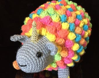EWENICORN - Unicorn and Sheep hybrid Crochet Amigurumi Plushie - Rainbow fruit colours