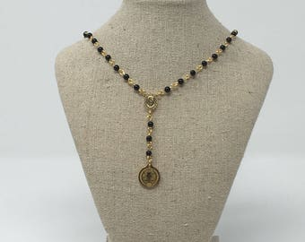 Rosary Necklace in Gold Filled with Onix Stone