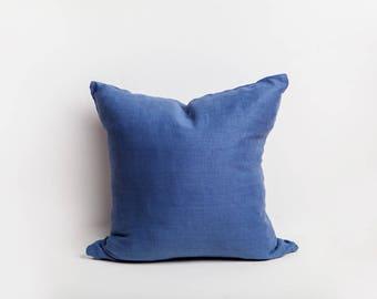 Blue Pillow Cover, Blue, Pillow Cover, Linen Pillow Cover,, European Linen, Solid Blue Pillow, Linen Pillow, Cozy, Blue Bedroom