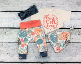 baby girl coming home outfit/newborn floral set/take home outfit/best gift ever