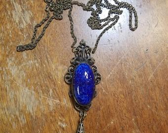 Vintage Blue Lapis Pendant Necklace