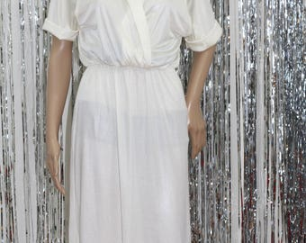 Vintage White Sears Dress V-Neck Dress (S)