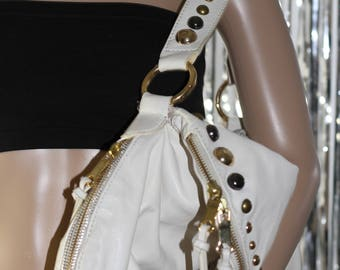 Gianni Bini All White Leather Purse with Gold Silver Studs, Great Condition