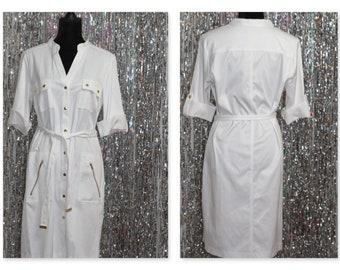 90's Sharagano White Maxi Dress (14) *New w/Tags