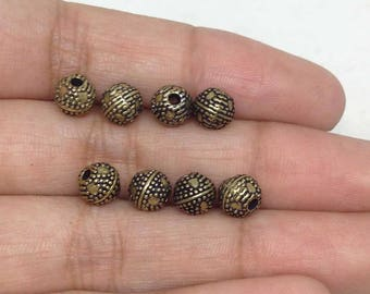 33 Dotted Round Engraved Antique Brass Beads - 33 Pieces 6 x 7mm - BD-11