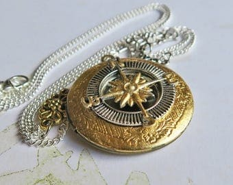 Compass Locket Necklace, Compass Rose Necklace, Rose of the Winds Pendant, Wind Rose, Directional Jewelry, Navigation Locket, Mixed Metals