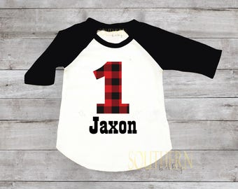 Lumberjack Birthday,Buffalo plaid Birthday, Lumberjack First Birthday, Plaid Birthday Shirt, Birthday Outfit, One, Two, Three, Four, Five