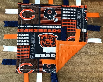 Chicago Bears Minky Baby Tag Blanket // Security Blanket // Ribbon Blanket // Teething Blanket