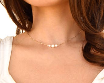 Triple pearl necklace - delicate gold filled necklace, sterling silver dainty simple necklace, birthday gift her, Christmas gift for her mom