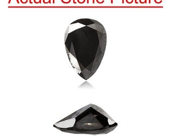 1.14 Cts of 8.19x5.57x3.72 mm GIA Certified AAA Pear Modified Brilliant ( 1 pc ) Loose Un-Treated Fancy Black Diamond
