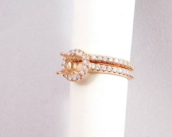 14k Rose Gold Wedding Set Mounting 0.60carats of Genuine Diamonds