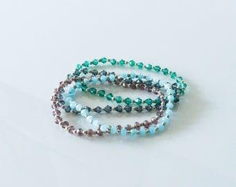 Elastic BRACELETS beads Swarovski - best friend gift- elastique- glass bead - colorfull