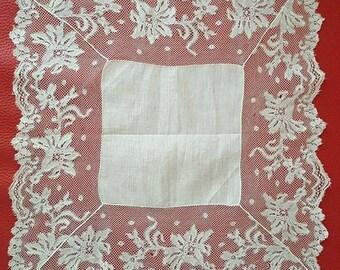 1920 bobbin lace handkerchief.