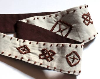 Brown festival head tie, embroidered head tie, Bohemian headband, gypsy head wrap, made by refugees in North Carolina