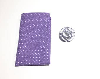 Wedding Lapel Pin, Suit Accessory, Mens white Flower Lapel Pin with Purple trim and Purple Polka Dot pocket square, wedding accessory