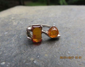 Vintage Amber Ring Mid-Century Sterling Silver Sz 8.5