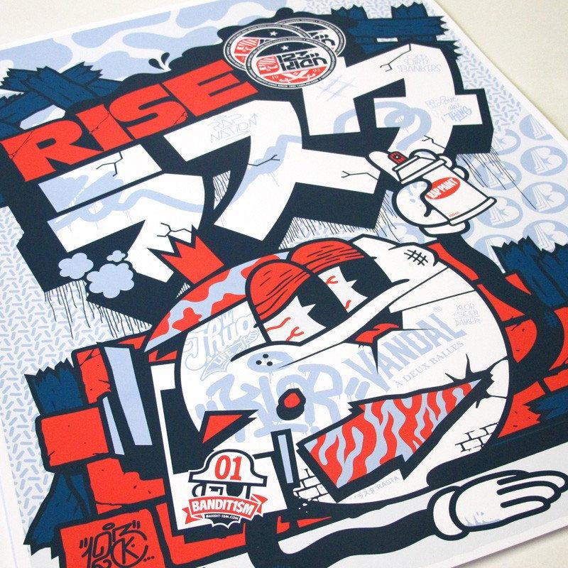 123klan Rise Rasta silkscreen poster 18 x