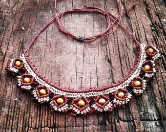 Tribal statement necklace with woodbeads - made with micromacrame technique
