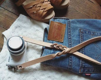 Leather camera strap, customized with your initials. Made in France.