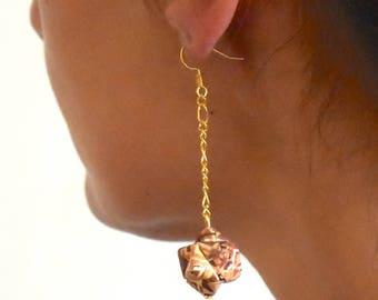geometrical earrings - wood marquetry imitation