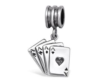 Silver Playing Cards Charm Dangle, fits Pandora Bracelets or Any Necklace