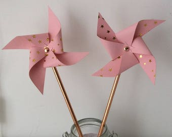Pink & copper windmills for decoration