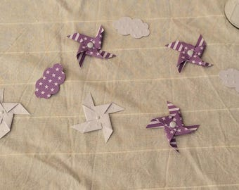Wind & cloud white & purple pinwheels table confetti/decorations
