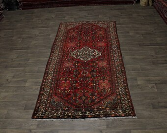 Great Shape Handmade Semi Antique Hamedan Persian Rug Oriental Area Carpet 5X10