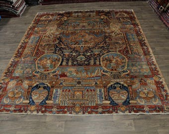Antique Historical Handmade Kashmar Persian Area Rug Oriental Carpet Sale 10X12