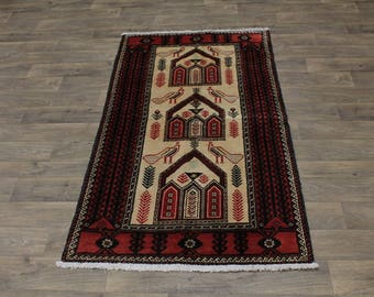 Medium Tribal Handmade Vintage Birds Balouch Persia Area Rug Oriental Carpet 4X7