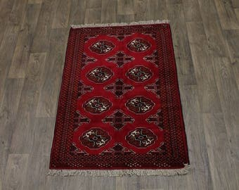 Small Handmade Tribal Red Ghoochan Turkoman Persian Area Rug Oriental Carpet 3X5