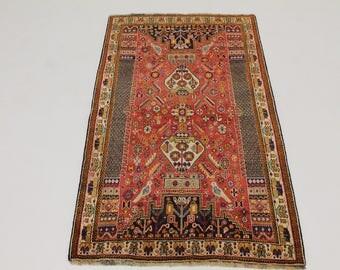 Fascinating Unique Handmade Birds Shiraz Persian Rug Oriental Area Carpet 4X7