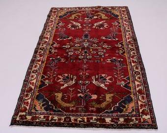 Unusual Animal Design S Antique Bakhtiari Persian Rug Oriental Area Carpet 4X6
