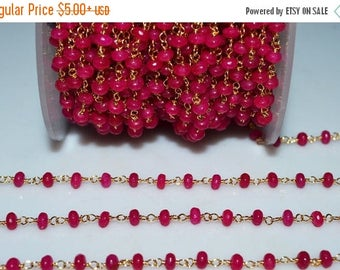 50% OFF Beautiful Hot Pink Chalcedony Rosary Beaded Chain-Chalcedony(Jade) Faceted Gold Wire Wrapped Beaded Chain , 4 mm - RB5114