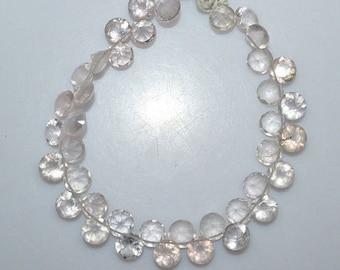 "50% OFF 1 Strand Rose Quartz Drilled Faceted Round Cut Stone Beads - Rose Quartz Faceted Cut Stone Briolette , 8 mm , 8"", BL2422"