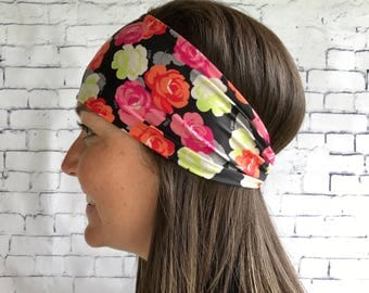 Sport Orange flowered head band