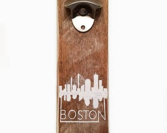 Rustic Boston Skyline Bottle Opener
