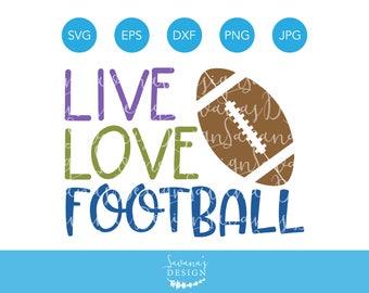 Live Love Football SVG, Football SVG Files for Cricut, Football Mom SVG, Football Season Cutting Files, dxf, eps, png, jpg, svg, clipart