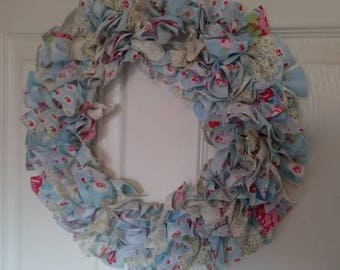 Blue an White Rag Wreath