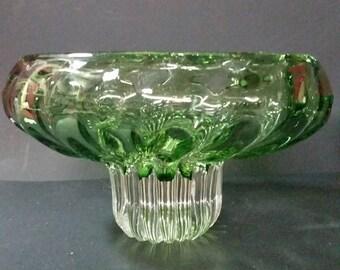 Very unique vintage green glass art  pedestal bowl.