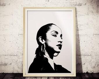 Sade Print, Sade Minimalist Print, BLACK and White Art, Sade Wall Decor, SadePoster, Sade Wall Art